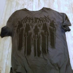 Men's Large Gray Distressed Affliction Tee Shirt
